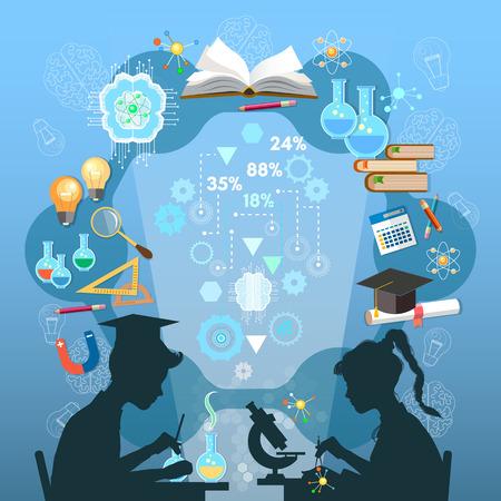 교육 infographic. 소년과 소녀의 실루엣입니다. 아이들이 공부합니다. 지식 학교 배경 효과적인 현대 교육 템플릿 디자인의 열린 책