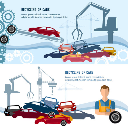 scrapyard: Car recycling banner. Industrial crane claw grabbing old car for recycling metal, utilization of cars. Illustration