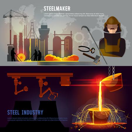 철강 산업 배너, 철강 공장 워크숍. 철강 노동자. 야금 과정. 뜨거운 철강 철강 공장에서 쏟아져. 대형 파운드리에서 금속 제련