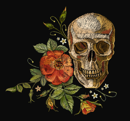Embroidery skull and roses. Dia de muertos, day of the dead art. Gothic romanntic embroidery human skulls red roses, clothes template and t-shirt design. Illustration