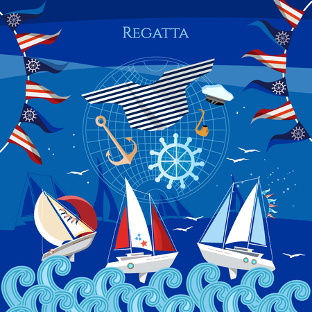 Yacht racing, sailing regatta. Sailing in the wind through the waves. Water sports Nautical school