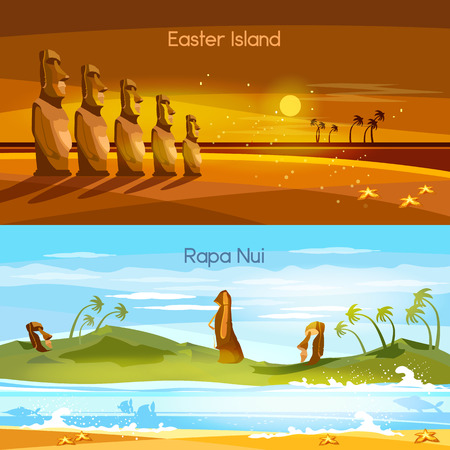 Easter Island landscape banners, Moai statues of Easter island landscape Polynesia. Stone idols. Tourism and vacation tropical background Illustration