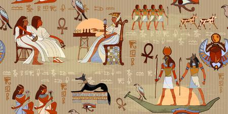 エジプトの神々 とファラオのシームレスなパターン。壁画古代エジプト シームレス パターン。古代エジプト パターンの外壁に象形文字の彫刻