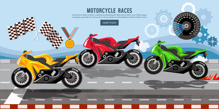 Motorcycle races banner, motorcycle racing championship on the racetrack Illustration