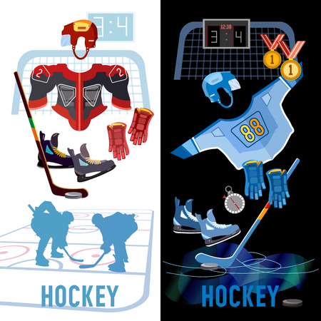 Hockey banner. World ice hockey championship, players shoots the puck and attacks, signs and symbols elements of professional hockey
