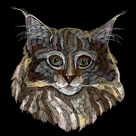 Embroidery cat. Beautiful funny cat embroidery for clothes, textile t-shirt design fashion template