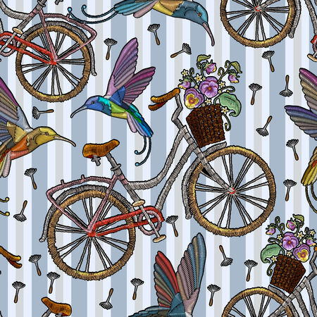 Embroidery bicycle with basket humming-bird and summer flowers seamless pattern. Fashionable embroidery bicycle humming bird and spring flowers, romantic art, template for clothes, t-shirt design