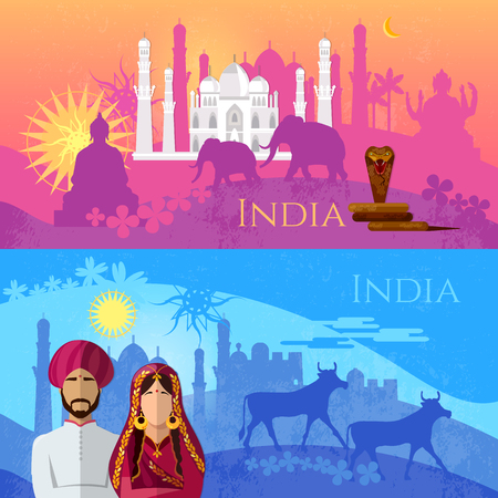 Travel to India banner. Culture, traditions, attractions and people of India. Taj mahal, elephants, saris, gods, Hinduism. illustration of India background set
