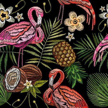 Borduurwerkflamingo, palmbladeren, ananas, kokosnoten tropisch naadloos patroon. Modieuze borduurwerk roze flamingo's, tropische de zomerachtergrond. Modieus malplaatje voor ontwerp van kleren Stockfoto - 85064401