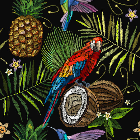 Embroidery parrot, humming bird, palm tree leaves, pineapple, coconut tropical seamless pattern. Fashionable embroidery tropical summer background. Template for design of clothes Illustration