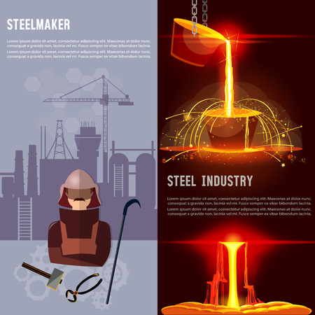 Steel industry banner. Metallurgy process. Hot steel pouring in steel plant. Smelting of metal in big foundry. Iron and factory workshop. Steel worker