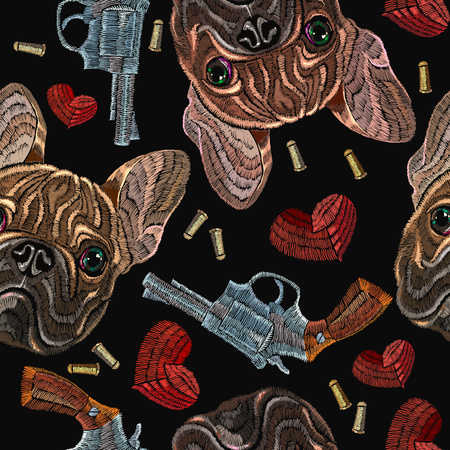 Embroidery bulldog, hearts and guns seamless pattern. Wild west embroidery old revolvers, red hearts and french bulldog dog, gangster fashion background. Design of clothes, t-shirt design Ilustracja