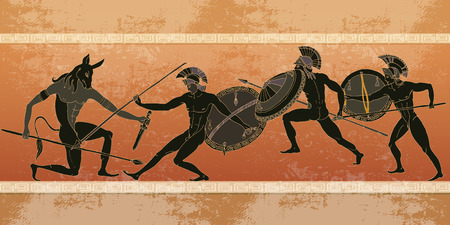 Ancient Greece banner. Black figure pottery. Hunting for a Minotaur, gods, fighter. Classical Ancient Greek style Illustration