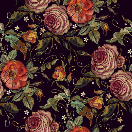 Embroidery wild red roses and peonies seamless pattern. Classic style embroidery, beautiful red roses and pink peonies seamless pattern vector. Fashionable template tapestry flowers renaissance