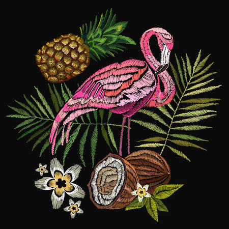 Embroidery flamingo, palm tree leaves, pineapple, coconut tropical art. Fashionable embroidery pink flamingos, tropical summer background. Fashionable template for design of clothes 일러스트