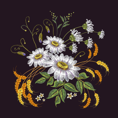 Beautiful bouquet of chamomiles, classic embroidery flowers for clothes, t-shirt design Illustration