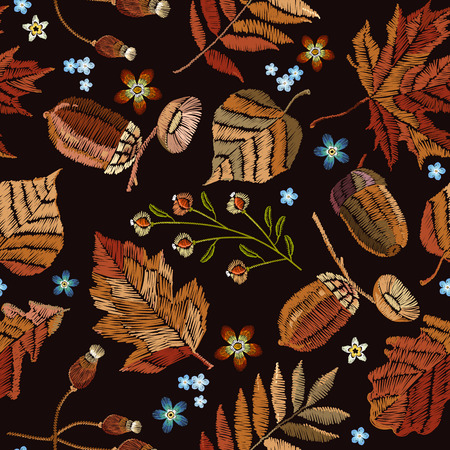Embroidery autumn seamless pattern. Fashionable template for design of clothes, t-shirt design. Classical september embroidery autumn leaves, butterfly, acorns wild forest, oak and maple leaves