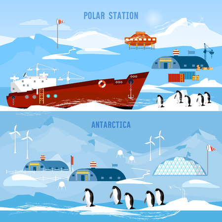 North Pole, polar station banners. Scientific station studying of Antarctica and North Pole. Penguins. Illustration