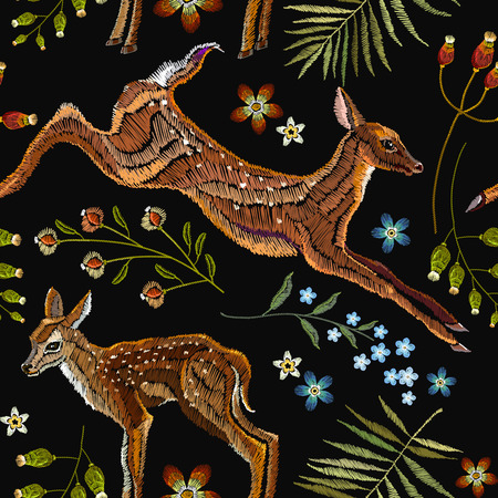 Embroidery deer, spring seamless pattern. Classical forest embroidery autumn leaves, spring flowers, deers outdoors seamless pattern. Fashionable template for design of clothes, t-shirt design 일러스트