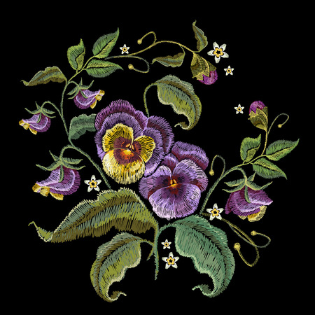 Violets flower embroidery. Fashionable design of clothes, t-shirt design. Classical embroidery beautiful flowers of violet on black background 일러스트