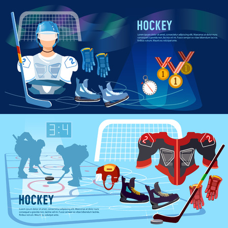 hockey goal: World ice hockey championship, players shoots the puck and attacks, signs and symbols elements of professional hockey banner. Hockey team, sport uniform. Illustration