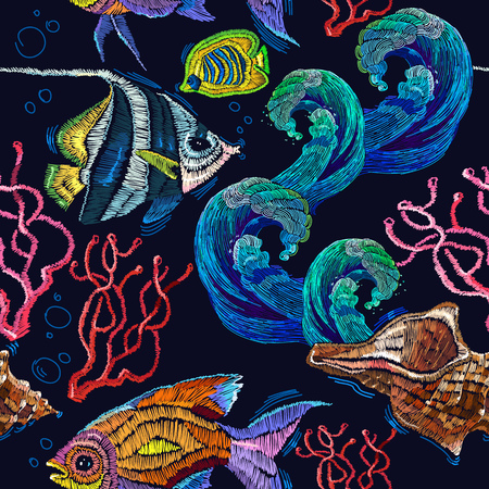 Embroidery sea life, sea shells, corals, tropical fishes seamless pattern. Classical embroidery tropical sea, wave, fishes, corals, shells seamless fashion pattern. Fashionable clothes, t-shirt design 일러스트