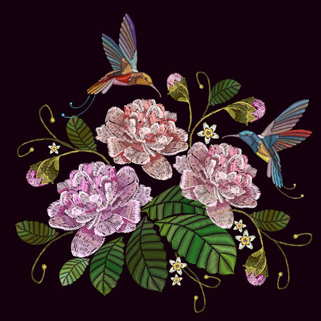 Embroidery peonies and humming bird. Fashionable template for clothes, textiles, t-shirt design. Beautiful peonies flowers and humming bird, classical embroidery