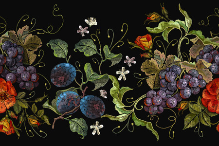 Embroidery cluster of grapes, plums and peonies seamless pattern. Classical embroidery grapes, plums and wild red roses flowers seeamless pattern, template fashionable clothes, t-shirt design 일러스트