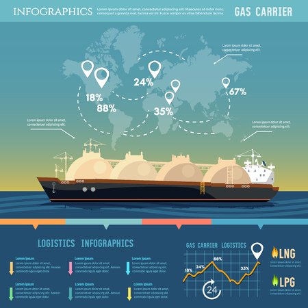 Oil and gas industry infographics. Carrier ship LNG transportation by sea. LNG tanker, natural gas 일러스트