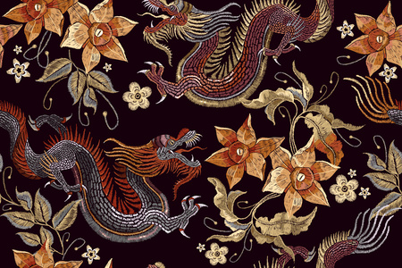 Embroidery dragons and flowers seamless pattern. Classical embroidery Asian dragon and beautiful vintage flowers seamless pattern. China dragons vector