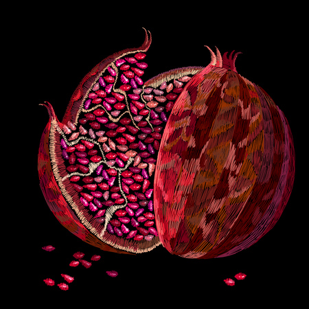 Embroidery pomegranate fruits and seeds on black background. Ripened red pomegranate, embroidery, template clothes, t-shirt design, textile design