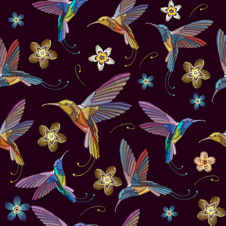 Humming bird and flowers embroidery seamless pattern. Beautiful hummingbirds and exotic flowers embroidery on black background. Template for clothes, textiles, t-shirt design