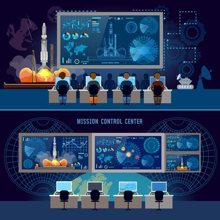 Mission Control Center-banner, start raket in de ruimte. Moderne ruimtetechnologieën, retourrapport van begin van raket. Space shuttle opstijgen op missie, ruimtehaven