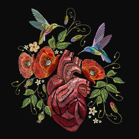 Embroidery anatomical heart, humming birds and poppies on black background. Elegant flowers poppy and tropical humming bird vector. Decorative floral embroidery