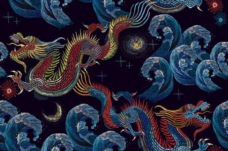 刺繍中国の龍と海波シームレス パターン。クラシック刺繍アジア海龍と海のシームレスなパターン。アート龍の t シャツ デザイン。服、織物のデザ