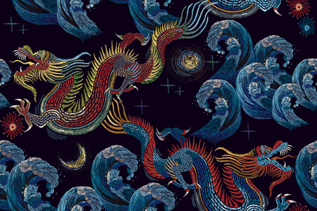 Embroidery chinese dragons and sea wave seamless pattern. Classical embroidery asian sea dragons and sea seamless pattern. Art dragons t-shirt design. Clothes, textile design template