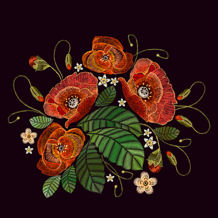Embroidery beautiful poppies. Decorative floral embroidery elegant flowers poppy vector. Fashion template for clothes and textiles, t-shirt design 일러스트