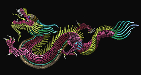 Embroidery chinese dragons. Classical embroidery asian dragons. Art dragons t-shirt design. Clothes, textile design template