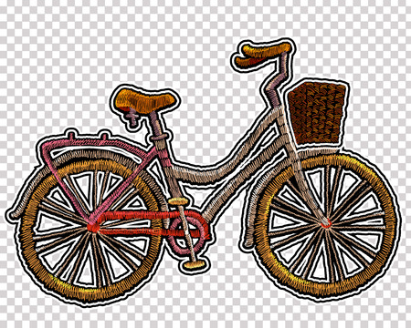 Embroidery bicycle with basket. Fashionable embroidery bicycle on white background, spring art, template for romantic clothes, t-shirt design