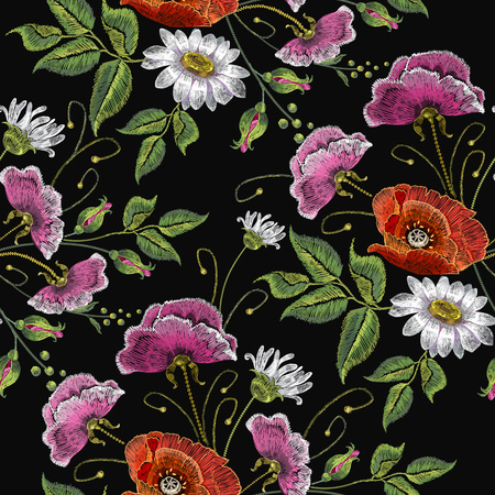 Embroidery chamomile pink flowers and poppies seamless pattern. Beautiful bouquet of spring flowers, poppies, white chamomile,  classic embroidery seamless background for clothes vector