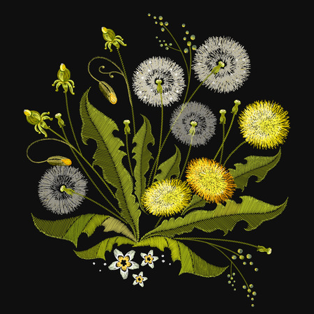 Embroidery Dandelions. Beautiful white dandelions classical embroidery, template for clothes and textiles, t-shirt design 일러스트