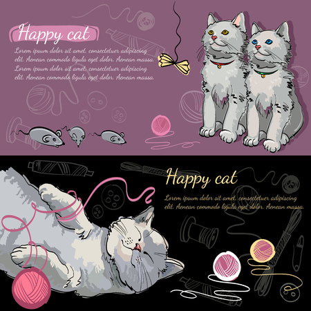 Happy cat dreams of a mouse banner. Cheerful kittens, Beautiful and funny kittens. Template for cat food, veterinary clinic 일러스트