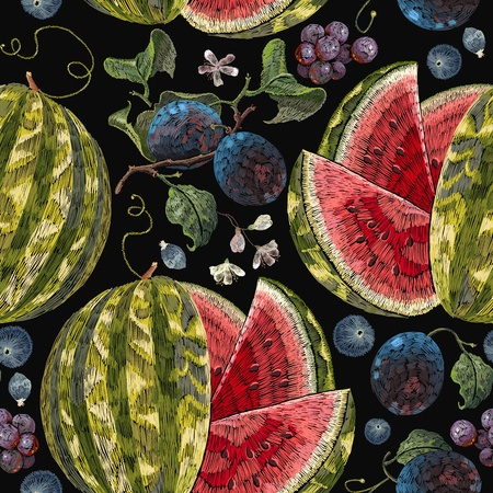 Embroidery plum, grapes watermelon seamless pattern. Beautiful classical embroidery tropical fruit watermelons and blossoming plum summer seamless pattern