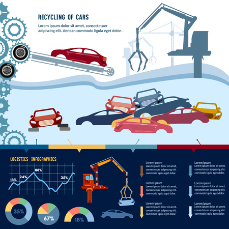 Car recycling infographic. Industrial crane claw grabbing old car for recycling metal, utilization of cars. Recycling industrial factory. Car scrap metal dump vector