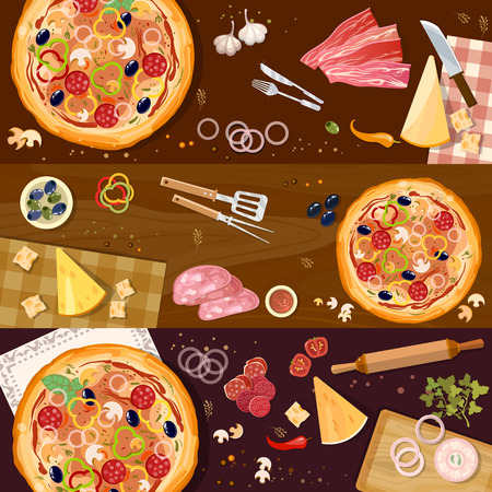 Making pizza, fresh ingredients for pizza vector. Pizza on wooden table top view banner vector