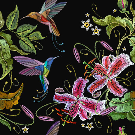 Embroidery orchids and humming birds seamless pattern. Fashionable template for design of clothes. Beautiful orchids flowers and tropical birds classical embroidery seamless background Illusztráció