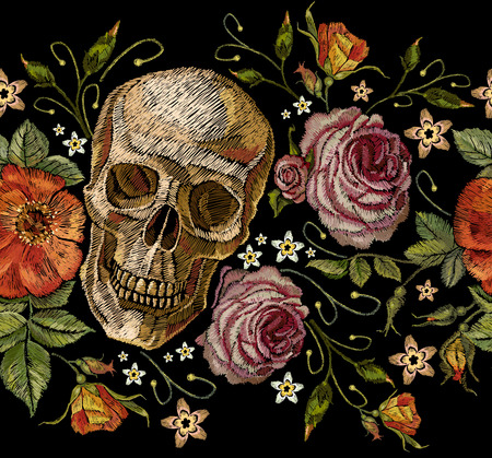 Embroidery skull and roses seamless pattern. Dia de muertos, day of the dead art. Gothic romanntic embroidery human skulls red roses and pink peonies pattern, clothes template and t-shirt design