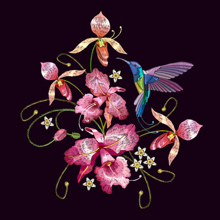 Humming bird and orchid exotic tropical flowers. Template for clothes, embroideries, t-shirt design. Beautiful classical embroidery, humming-bird, orchids flowers