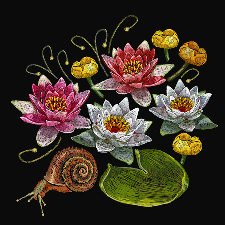 Water lily embroidery. Classical embroidery lotus and water pink and white lilies, template fashionable clothes, t-shirt design, print vector