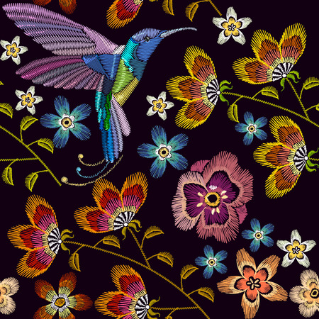 Humming bird and flowers embroidery seamless pattern 일러스트